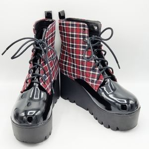 QUPID CHECKERED RED CREEPER WOMEN BOOTS SZ 7.5